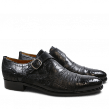 Monks Henry 11 Alligator Suede Croco Black HRS
