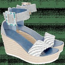 Sandals Abby 2 Denim Light Blue Raffia White