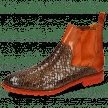 Ankle boots Brad 9 Woven Chestnut Rust Brandy Elastic Ribbed Orange