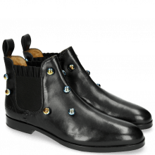 Ankle boots Susan 10 Black Resin Bubbles Multi Elastic Fly