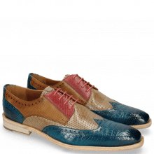 Derby shoes Leonardo 20 Baby Croco Mid Blue Perfo Ruby