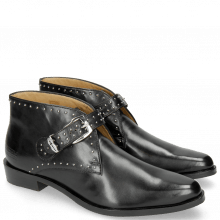 Ankle boots Marlin 33 Black Rivets Nickel Sword Buckle