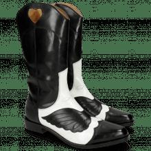 Boots Marlin 36 Black Soft Patent White Stitching Black