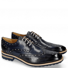 Derby shoes Eddy 5 Navy Soft Patent White Punch