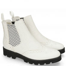 Ankle boots Selina 6 Nappa Perfo White Elastic Zigzag