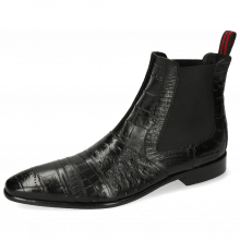 Ankle boots Elvis 12 Big Croco Lizzard Crock Ostrich Black