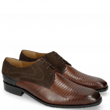Derby shoes Rico 14 Venice Guana Mid Brown Suede Pattini Brown