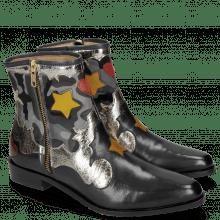 Ankle boots Marlin 12 Navy Cromia Gunmetal Camo Satin Blue Stars Yellow Heart Ruby