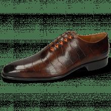 Oxford shoes Lance 28 Big Croco Mid Brown Eyelet Fluo Orange