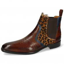Ankle boots Lewis 26 Baby Croco Wood Navy Hairon Leo Cognac