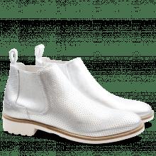 Ankle boots Ella 23 Laminato Perfo Silver Elastic Silver Rook D White