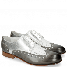 Derby shoes Sally 106 Grigio Nappa Perfo White Silver