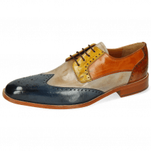 Derby shoes Jeff 14 Mock Navy Digital Sun Arancio Tan