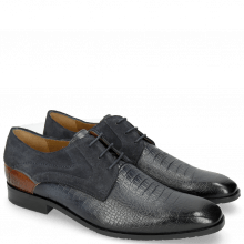Derby shoes Rico 14 Venice Baby Croco Navy Wood Suede Pattini Navy