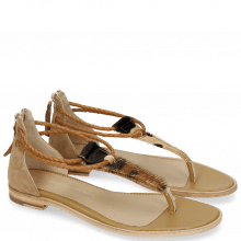 Sandals Sandra 39 Hairon Camo Suede Camel