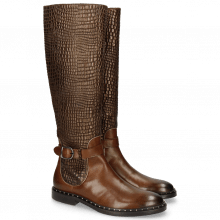 Boots Sally 59 Mid Brown Gold Finish Wellington