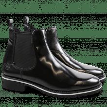 Ankle boots Esther 6 Brush Black Silver Elastic Black WL Black Welt White