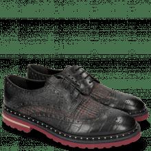 Derby shoes Matthew 4 Big Croco Black Textile Retro