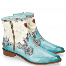 Ankle boots Marlin 12 Vegas Mermaid Snake Turquoise Perfo White Heart