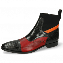 Ankle boots Elvis 74 Baby Croco Black Dice Red Fluo Orange