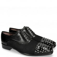 Oxford shoes Lance 23 Patent Black Net Black Rivets
