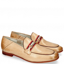 Loafers Scarlett 45 Glove Nappa Ivory Binding Tan Trim Gold