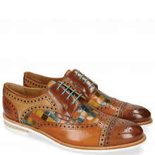 Derby shoes Henry 7 Tan Nude Arancio Woven Multi