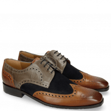 Derby shoes Xander 5 Rio Wood Stone Suede Pattini Perfo Navy