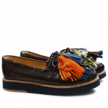 Loafers Bea 4 Crust Dark Brown Tassel Multi Z Navy