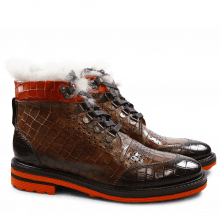 Ankle boots Amelie 23 Crock Dark Brown Mink Winter Orange Laces Dark Brown Fur Lining Taupe Aspen Orange