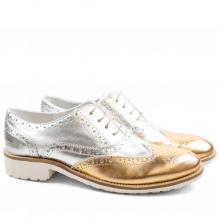 Oxford shoes Ella 22 Laminato Gold Silver Rook D White
