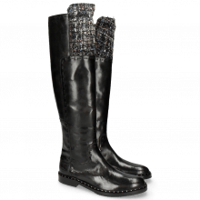 Boots Sally 61 Rio Black Textile Spark Rivets Welt