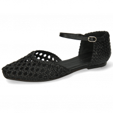 Sandals Melly 9 Open Woven Sheep Black