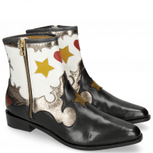 Ankle boots Marlin 12 Black Crush Metal Gold Venice White