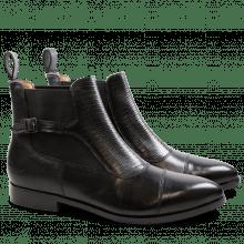 Ankle boots Jessy 10 Crust Black Guana Black Elastic Black HRS