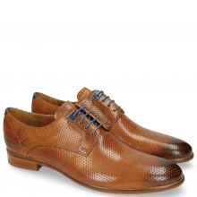 Derby shoes Clint 1 Perfo Tan Decor Piece Electric Blue