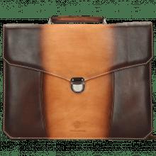Leather briefcases Hamilton Vegas Tan Shade Dark Brown