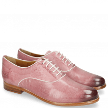 Derby shoes Selina 4 Pisa Lilac Binding Patent White
