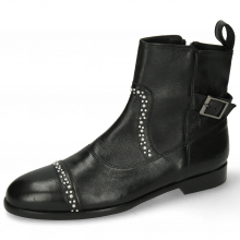 Ankle boots Susan 78 Nappa Black Rivets White