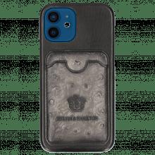 iPhone case Twelve Vegas Black Wallet Ostrich Grigio