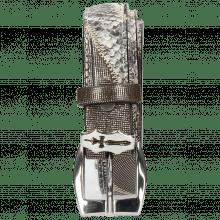 Belts Linda 2 Fermont Gunmetal Snake Black White Hairon Stripes Sword Buckle