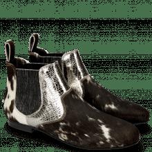 Ankle boots Sonia 4 Hairon Black White Cromia Gunmetal Elastic Glitter Black