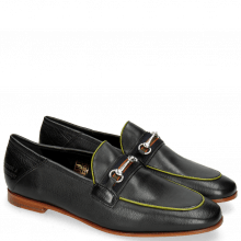 Loafers Scarlett 45 Glove Nappa Black Binding Fluo Yellow