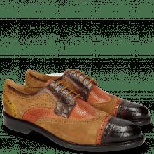 Derby shoes Henry 7 Big Croco Mid Brown Winter Orange Lima Ocra Tan Python