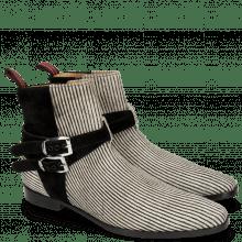 Ankle boots Elvis 45 Hairon Stripes Black White Suede Pattinni Black