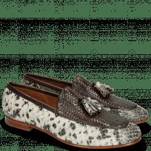 Loafers Clive 21 Snake Ivory Haring Bone Weave Dark Brown