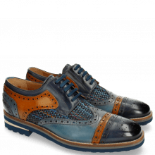 Derby shoes Phil 10 Woven Navy Tan Moroccan Blue Harrisburg Blue