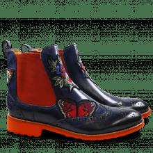 Ankle boots Amelie 44 Crust Navy Embrodery Elastic Orange Rook D Orange