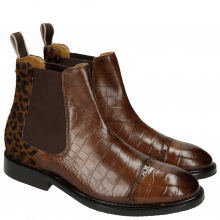 Ankle boots Matthew 10 Big Croco Dark Brown Hairon Cappu Elastic Brown