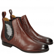 Ankle boots Sally 83 Plum Elastic Glitter